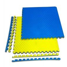 """Спортивные маты татами """"ласточкин хвост"""" 20 мм, плотность 120 кг/м.куб желто-синие"""