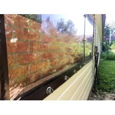 Мягкие окна ПВХ для летней площадки кафе, крепление на поворотные скобы