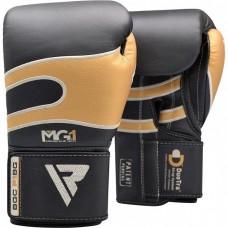 Боксерские перчатки RDX Leather Black Gold 10 ун.